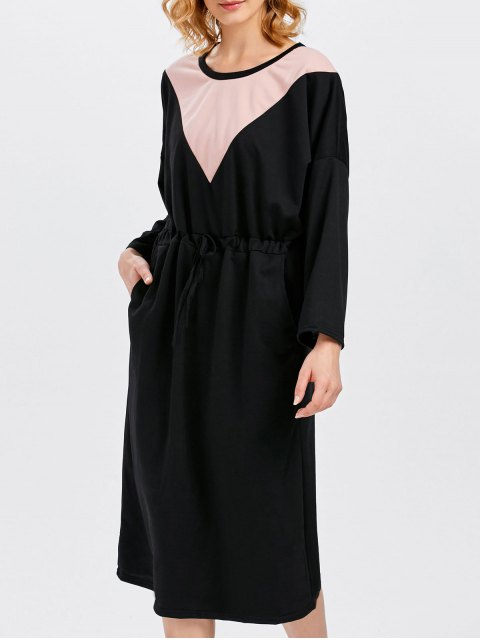 unique Drawstring Color Block Pockets Dress - BLACK ONE SIZE Mobile
