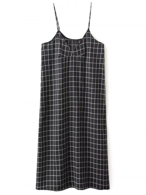 buy Shift V Neck Slip Plaid Dress - BLACK S Mobile