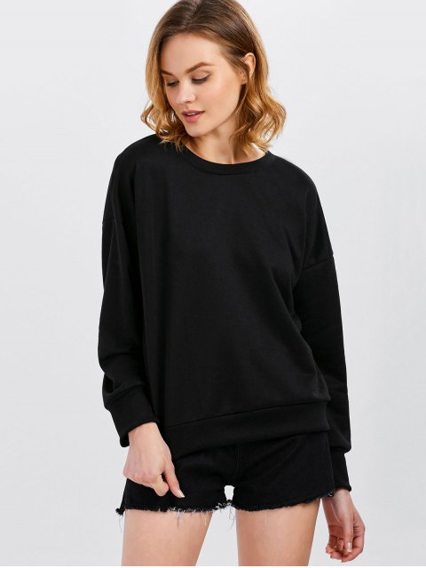 outfits Jewel  Neck Lace Up Sweatshirt - BLACK 2XL Mobile