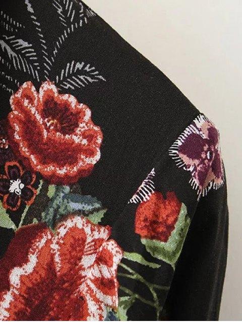 women's Maxi Floral Print Shirt Dress - BLACK M Mobile