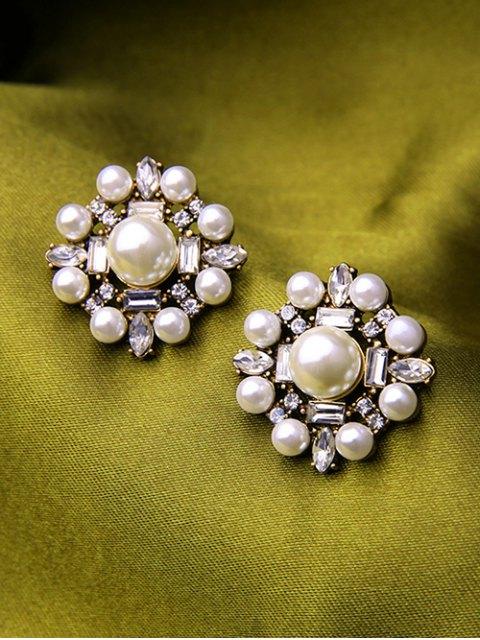 womens Faux Pearl Rhinestone Earrings - WHITE  Mobile