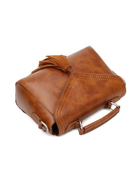fashion Tassel Faux Leather Handbag - BROWN  Mobile