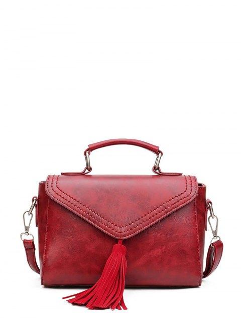 fancy Tassel Faux Leather Handbag - WINE RED  Mobile