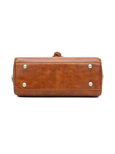 unique Tassel Faux Leather Handbag - BLACK  Mobile