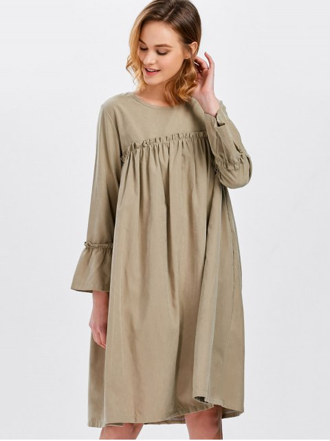 affordable Long Sleeve Trapeze Dress - KHAKI ONE SIZE Mobile
