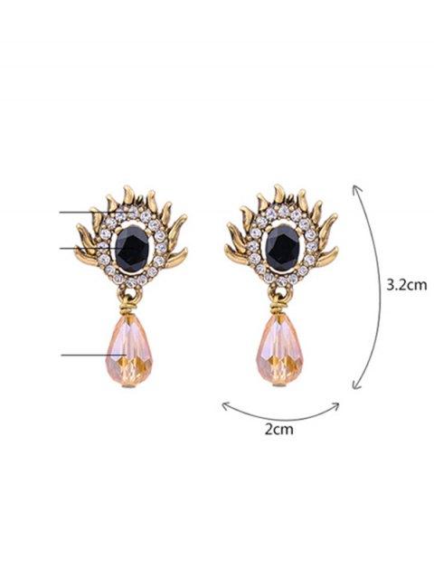 women Rhinestone Teardrop Artificial Gem Earrings - GOLDEN  Mobile