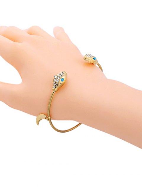 women's Snake Rhinestone Moon Cuff Bracelet - GOLDEN  Mobile