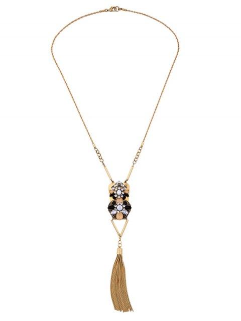 ladies Geometric Fringed Rhinestone Sweater Chain - GOLDEN  Mobile