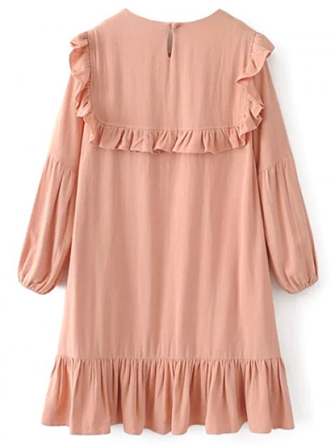 new Ruffle Puff Long Sleeve A Line Dress - PINKBEIGE M Mobile