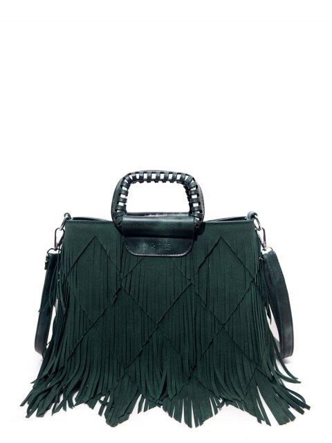 sale Faux Leather Multi Fringe Handbag - GREEN  Mobile