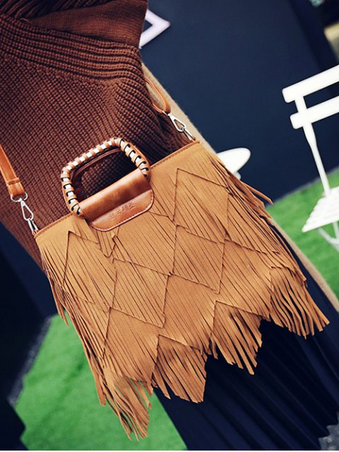 buy Faux Leather Multi Fringe Handbag - BROWN  Mobile