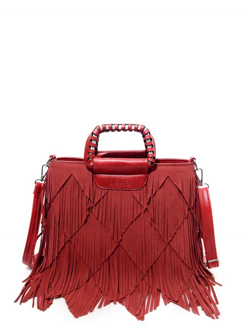 womens Faux Leather Multi Fringe Handbag - RED  Mobile