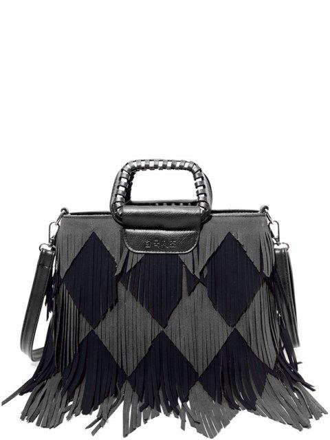 lady Color Blocking Multi Fringe Handbag - BLACK AND GREY  Mobile