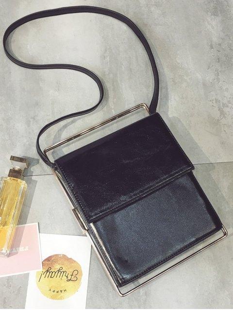 hot Metal Trimmed Minimal Crossbody Bag - BLACK  Mobile