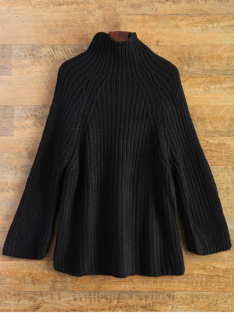online Chunky Funnel Collar Sweater - BLACK ONE SIZE Mobile