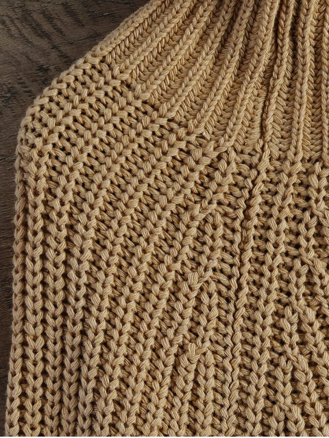 hot Chunky Funnel Collar Sweater - KHAKI ONE SIZE Mobile