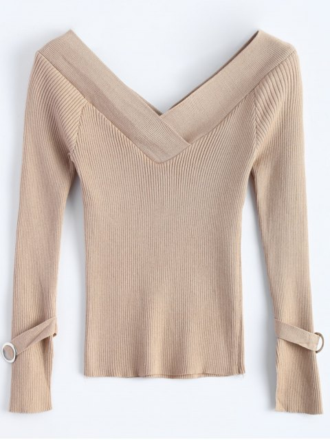 outfit Bare Shoulder V Neck Rib Sweater - KHAKI ONE SIZE Mobile