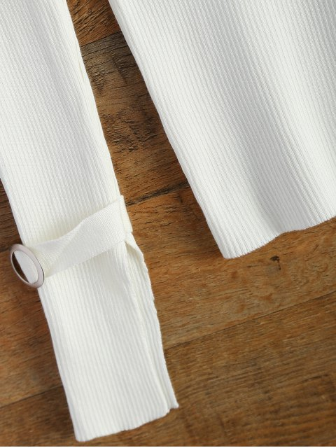shop Bare Shoulder V Neck Rib Sweater - WHITE ONE SIZE Mobile