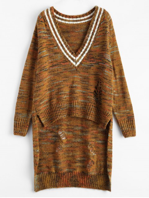 womens High Low Heather Sweater - EARTHY ONE SIZE Mobile