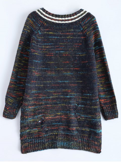 women High Low Ripped Heather Sweater - PURPLISH BLUE ONE SIZE Mobile