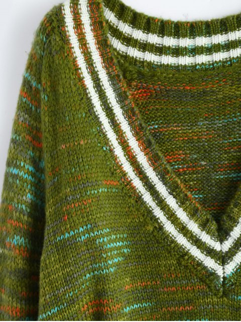 women's High Low Ripped Heather Sweater - GREEN ONE SIZE Mobile
