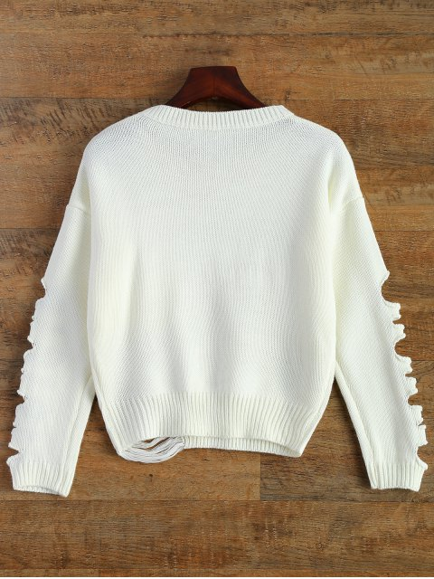 fashion Distressed Patch Pocket Sweater - WHITE ONE SIZE Mobile