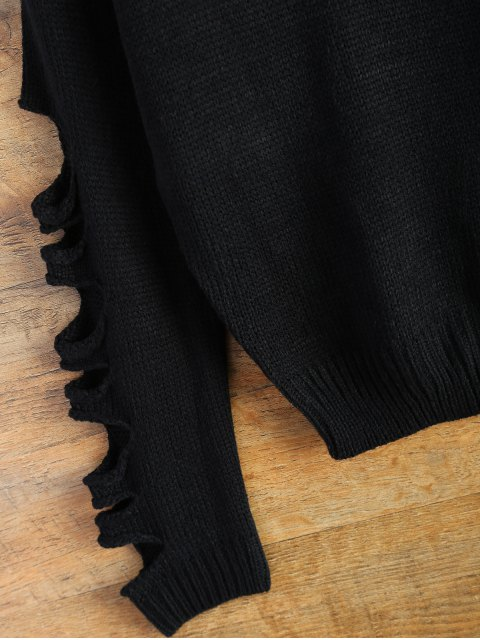 chic Distressed Patch Pocket Sweater - BLACK ONE SIZE Mobile