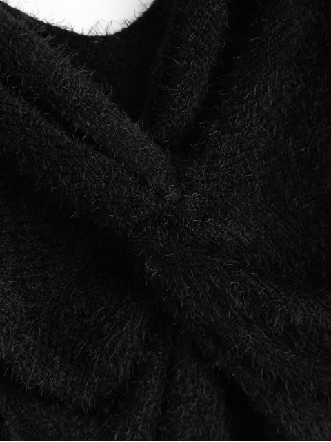 buy Fluffy Twisted Chenille Sweater - BLACK ONE SIZE Mobile