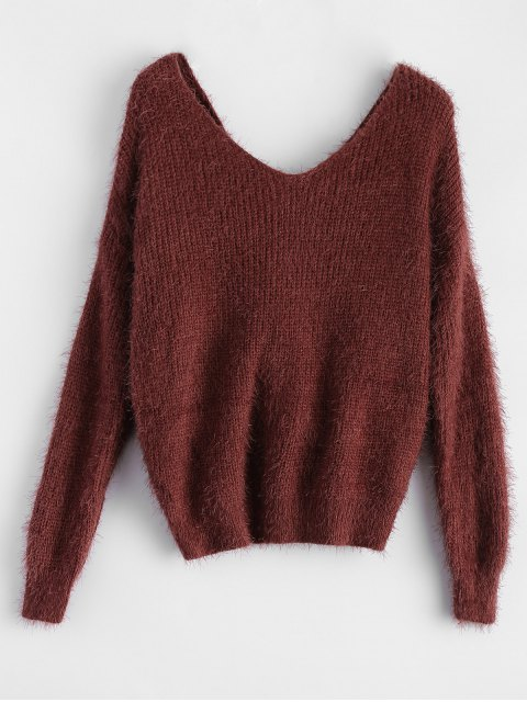 womens Fluffy Twisted Chenille Sweater - CLARET ONE SIZE Mobile