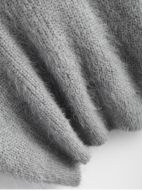 women's Fluffy Twisted Chenille Sweater - GRAY ONE SIZE Mobile