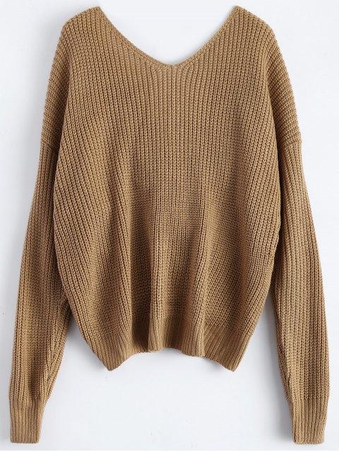 ladies V Neck Twisted Back Sweater - KHAKI ONE SIZE Mobile