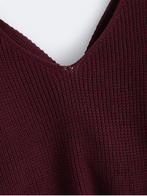 lady V Neck Twisted Back Sweater - BURGUNDY ONE SIZE Mobile