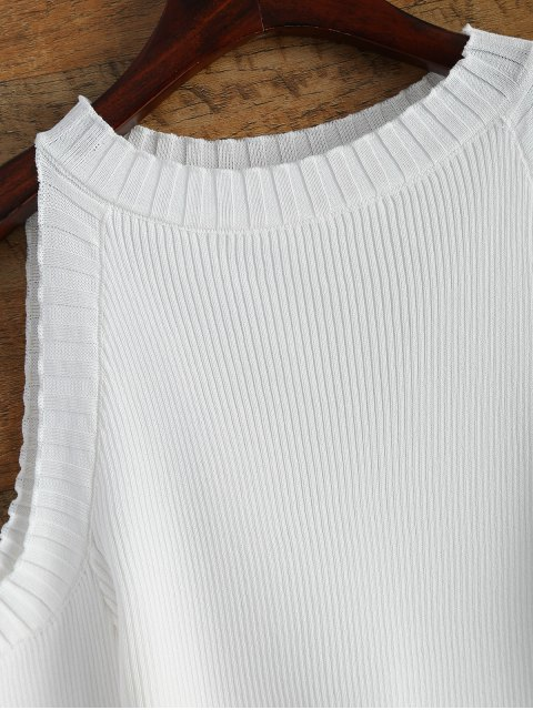 outfit Cutout Open Shoulder Sweater - WHITE ONE SIZE Mobile
