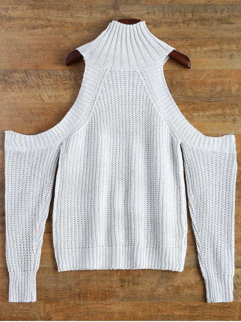 outfits Cutout Open Shoulder Funnel Sweater - WHITE ONE SIZE Mobile