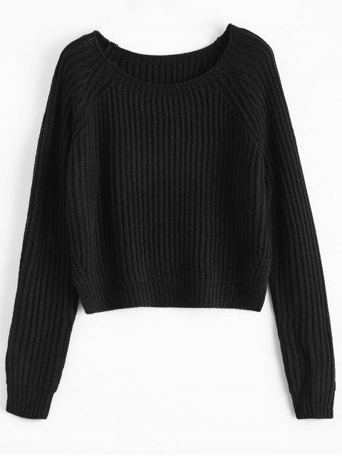 ladies Raglan Sleeve Boxy Basic Sweater - BLACK ONE SIZE Mobile