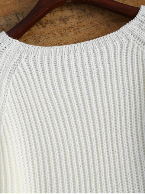 lady Raglan Sleeve Boxy Basic Sweater - WHITE ONE SIZE Mobile