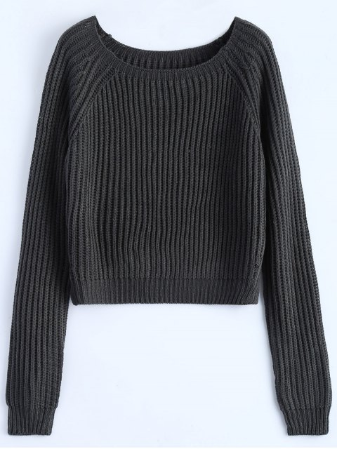 best Raglan Sleeve Boxy Basic Sweater - DEEP GRAY ONE SIZE Mobile