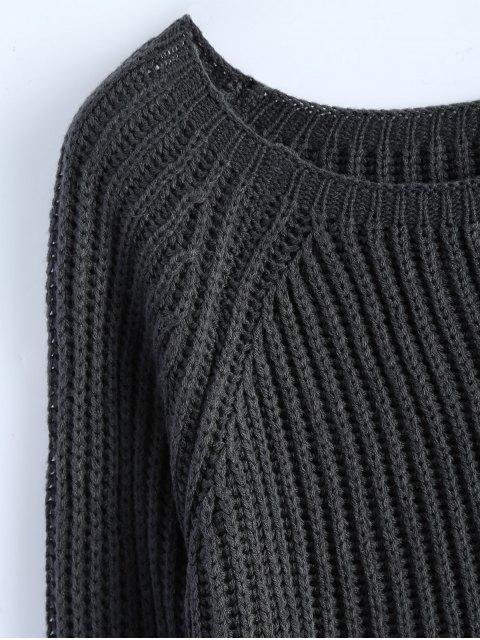 best Raglan Sleeve Boxy Basic Sweater - DEEP GRAY ONE SIZE Mobile