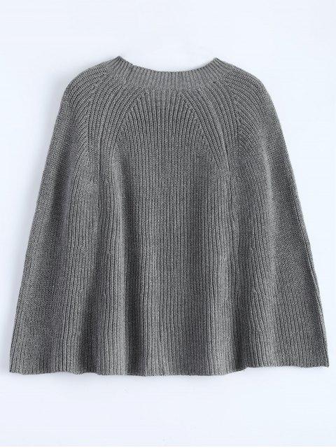 shops Zipped Split Hem Knit Poncho - GRAY ONE SIZE Mobile