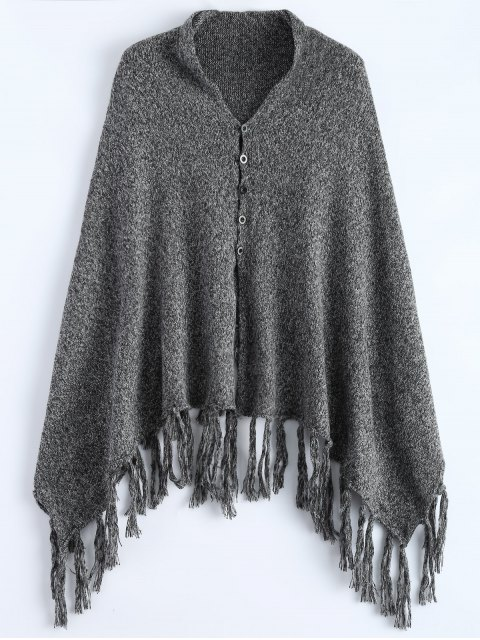 latest Heathered Tasselled Poncho - GRAY ONE SIZE Mobile