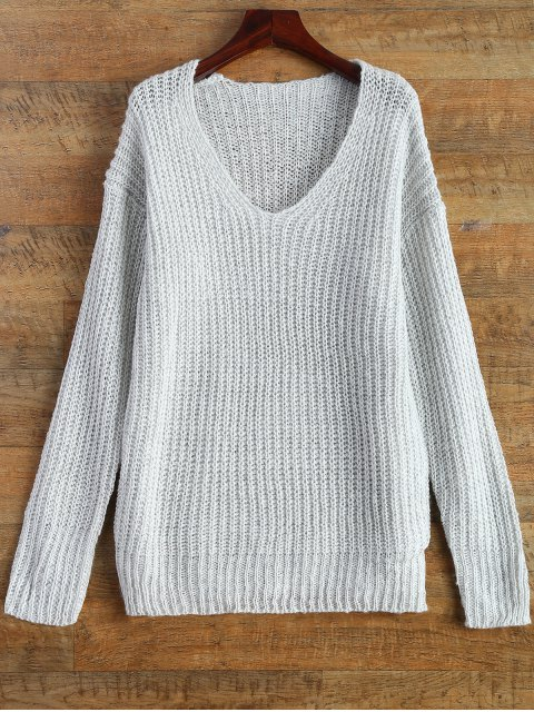 trendy Side Slit Open Knit Basic Sweater - WHITE ONE SIZE Mobile