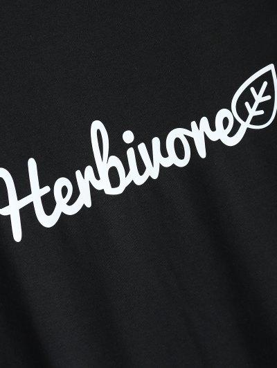 Short Sleeve Herbiuone Boyfriend T-Shirt - BLACK 2XL Mobile