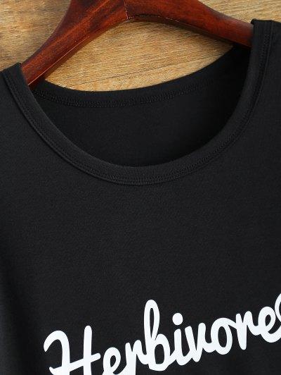 Short Sleeve Herbiuone Boyfriend T-Shirt - BLACK XL Mobile
