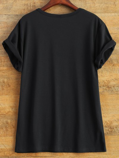 Short Sleeve Herbiuone Boyfriend T-Shirt - BLACK S Mobile