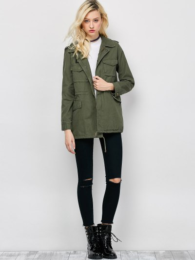 Star Patched Utility Jacket - ARMY GREEN XL Mobile