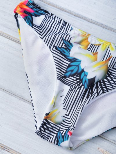 Printed Halter Bowknot Bikini - BLACK L Mobile