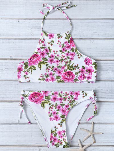 Tiny Floral Halter Bikini Set - FLORAL L Mobile