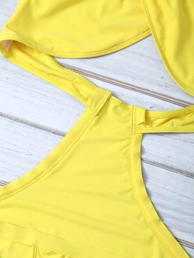 Halter Criss Cross One Piece Swimwear - YELLOW L Mobile