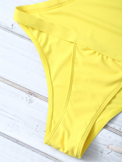Halter Criss Cross One Piece Swimwear - YELLOW M Mobile