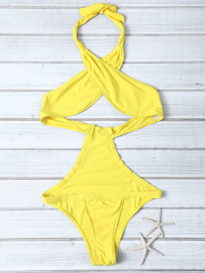 Halter Criss Cross One Piece Swimsuit